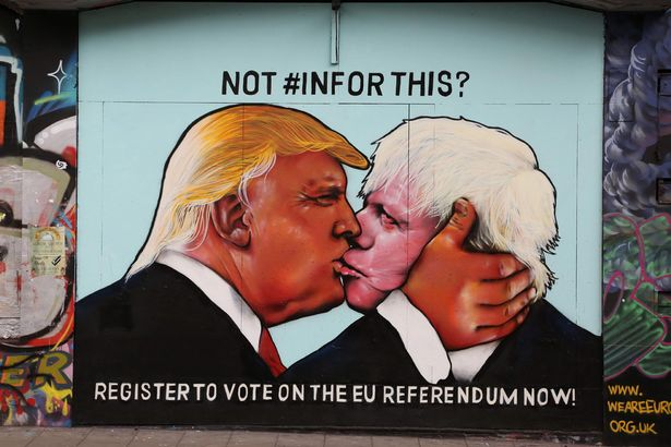 Boris and Trump kiss